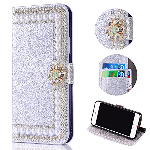 Bling Glitter Case for Samsung Galaxy A6 2018,Shinyzone Luxury Diamond [3D Flower Magnetic Buckle] [Stand Feature] Leather Wallet Protective Cover for Samsung Galaxy A6 2018,Silver by Shinyzone