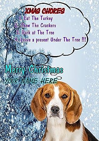 Beagle Dog Blue Animal Personalized Birthday Card