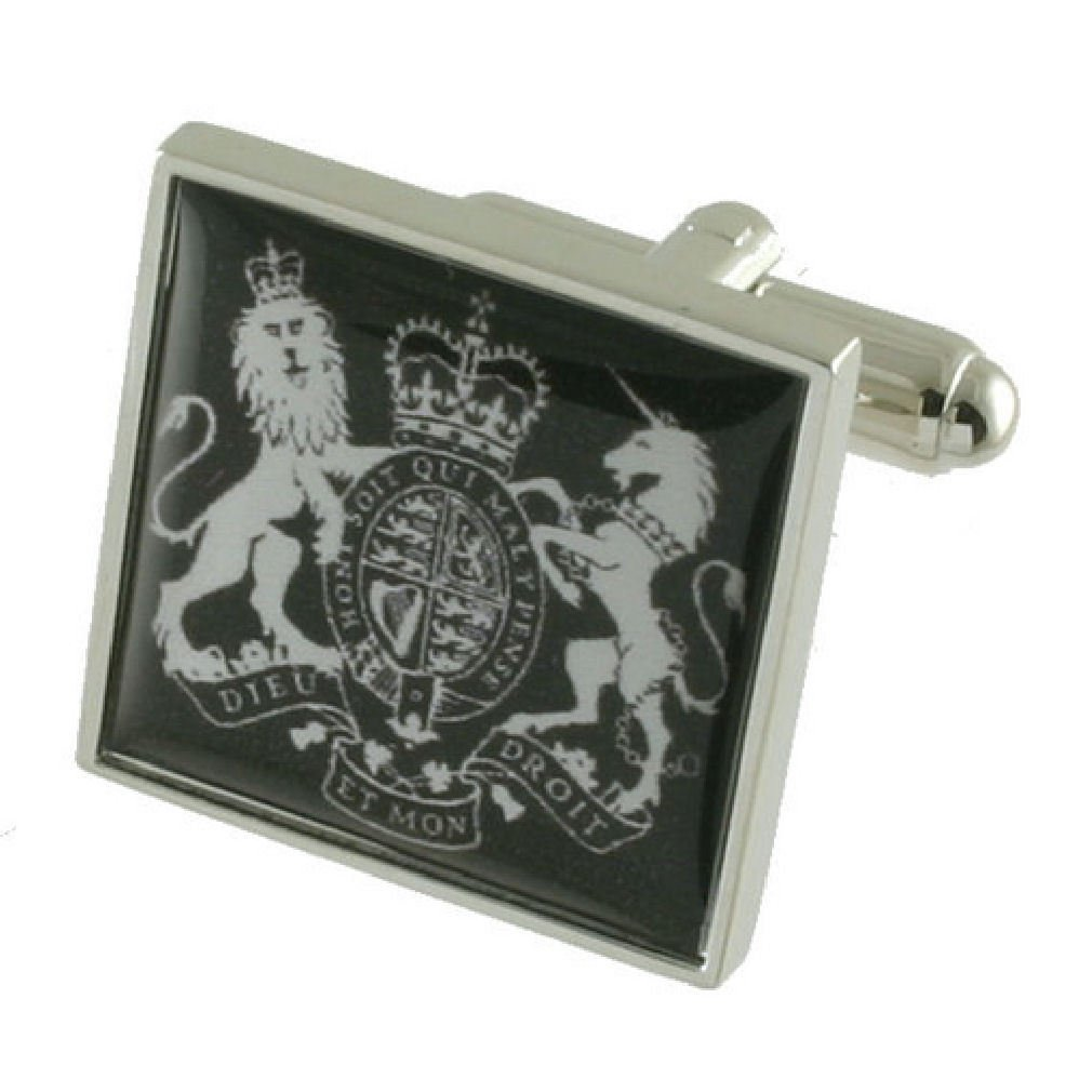 United Kingdom Coat Arms Cufflinks Solid Sterling Silver 925 with optional engraved message box