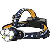 YFFSS Headlamp,Rechargeable headlamp, 12000 Lumen 6 LED 8 Modes 18650 USB Rechargeable Waterproof Flashlight Head Lights for Camping,Hiking,Outdoors