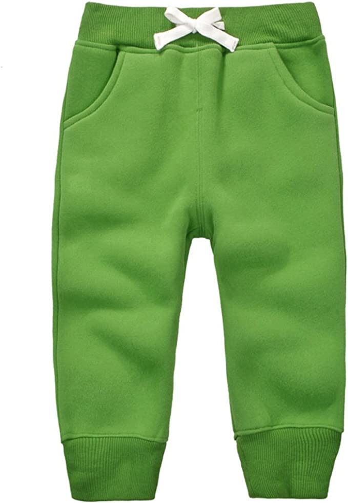CuteOn Unisex Toddler Jogger Pants Kids Cotton Elastic Waist Winter Baby Sweatpants Pants 1-5Years