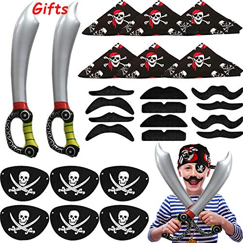 26Pcs Pirate Party Supplies Pirate Captain Eye Patches Pirate Bandana Inflatable Sword Toys Fake Mustache for Halloween Pirate Party Cruise Costume Prop Pirate Costume Accessories for Boys Girls Kids]()