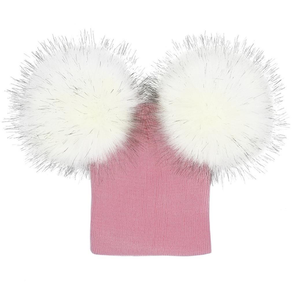 Saingace 1PC Baby Hat, Infant Baby Girls Boys Crochet Knit Winter Warm Faux Fur Ball Hat Beanie Cap