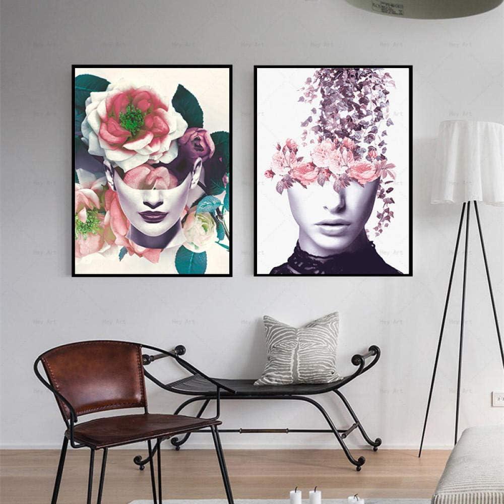 Carteles abstractos coloridos Cuadros Pintura de lienzo Cara de mujer con flores de color rosa púrpura Impresiones Arte de la pared Sala de estar Decoración de la pared del hogar 40x60cmx2 Sin marco