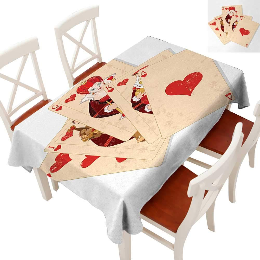 """WinfreyDecor Tablecloth Heavy Weight for Kitchen Dinning Tabletop Decoration Crown Gambler Queen Hearts Royal Fairy Flush Face Magic Theme Brown Red and Ecru 60"""" × 120"""""""
