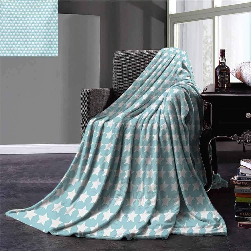 Vintage Comfort Blanket Geometrical Squares Crosswise Stripes Traditional Tartan Like Lattice Pattern Super Soft Plush Blanket Full Size Pale Blue White 70x90 Inch