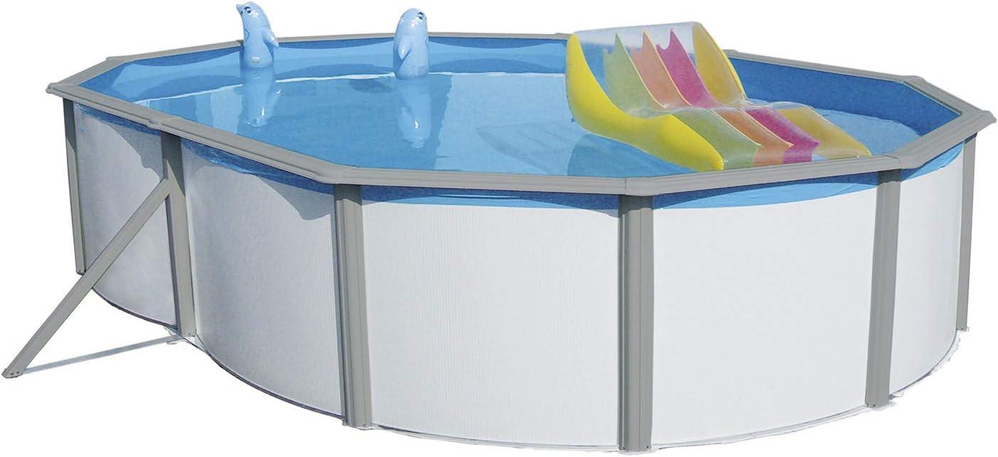 oval 011274 640 x 366 x 120 cm mit Sandfilteranalge Steinbach Nuovo de Luxe Duo Stahlwandpool Set