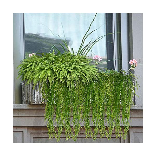 Artificial-Plants-Vines-Fern-Willow-Wicker-Twig-Fake-Hanging-Plant-Faux-Curly-Seaweed-Ferns-Flowers-Vine-Outdoor-UV-Resistant-Plastic-Plants-for-Wall-Indoor-Hanging-Baskets-Wedding