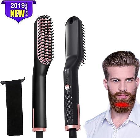 Lesgos Peigne à Lisser Barbe pour Homme, Brosse lissante pour Cheveux Multifonctionnel Stylo Peigne électrique avec Affichage de la température,