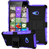 Heartly Flip Kick Stand Spider Hard Dual Rugged Armor Hybrid Bumper Back Case Cover For Microsoft Lumia 540 Dual SIM - Frame Purple