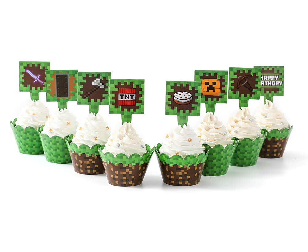 Pixel Cupcake Wrappers and Toppers For Game Party Birthday Party Double  Design Printed Party Decoration Party Supplies (8 SET)