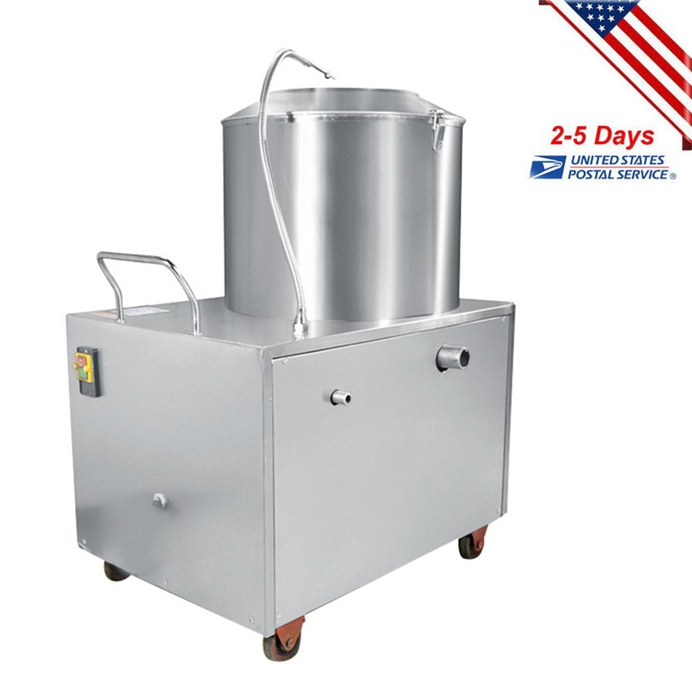 Funwill Shipping from USA Commercial Potato Peeler Automatic Sweet Potato Peeling &Cleaning Machine High Efficiency Washing Peeling Convenient Operation Equipment Stainless Steel Kitchen Tools 1500W