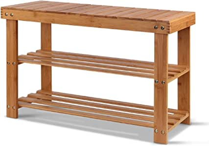 Artiss 10 Pairs Bamboo Shoe Bench, 70cm Length Entryway Storage Shelves