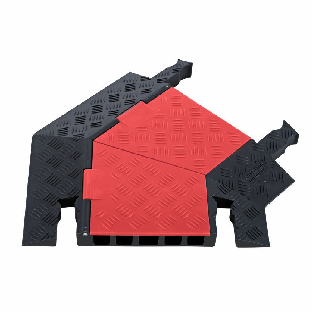 Guard Dog GDT5X125-R-O/B Polyurethane Heavy Duty 5 Channel 45 Degree Right Turn Cable Protector with Dog-Bone Connector, Orange Lid with Black Ramp, 24.5'' Length, 19.75'' Width, 1.87'' Height