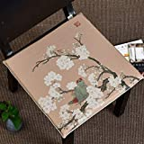 Der Chinese Style Cushion,Sponge Cushion,Square Chair seat Cushion,Chair seat pad Dormitory Office Bedroom Terrace (Color : A, Size : 43x43x3cm(17x17x1))