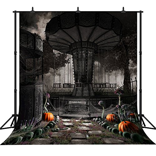DePhoto 10X10FT(300X300CM) Halloween Theme Pumpkin Lantern Customized Seamless Vinyl Photography Backdrop Photo Background Studio Prop PGT235B -
