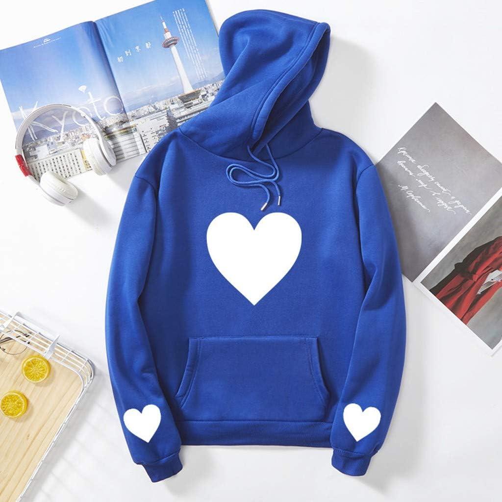 Women Valentines Day Hoodies Sweatshirt Coat Ladies Heart Print Long Sleeve Pocket Pullover Tops