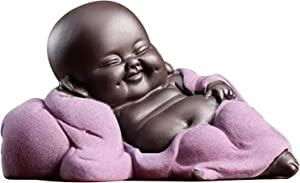 Laughing Buddha Statue, Chinese Baby Buddha Decor, Little Monk Figurine Smiling Buddha Arts and Crafts, Maitreya Cute Budda Dolls for Home Office Car Decors Ornaments Tea Accessories Make You Happy