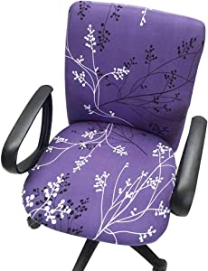 Echaprey One-Piece Stretchy Washable Rotating Swivel Computer Office Chair Covers Anti-Dust Removable Dining Chair Covers (Pattern 5)