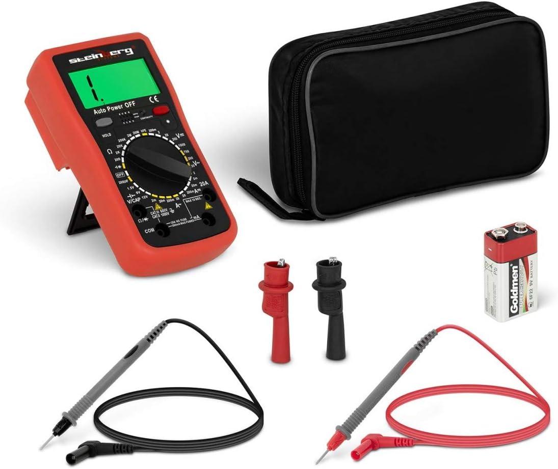 LCD, Soporte y bolsa incluidos, 2000 conteos, prueba de transistores hFE Steinberg Systems Mult/ímetro Port/átil Digital SBS-DMB-1000