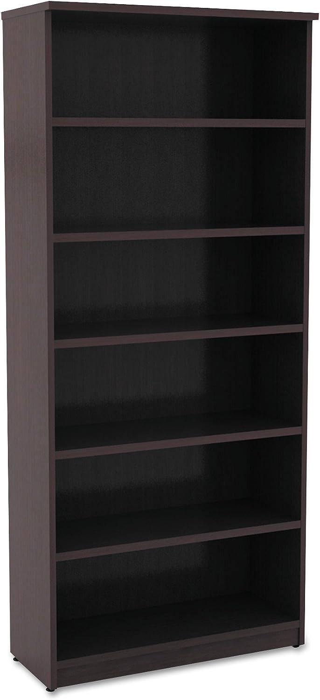 Alera ALE Valencia Series Bookcase, Six-Shelf, 31 3/4w x 14d x 80 3/8h, Espresso