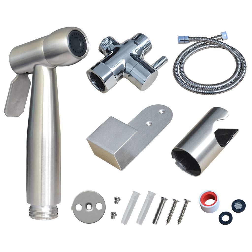 Atalawa Hand Held Bidet Sprayer Muslim Shower Diaper Sprayer Attachment Kit Stainless Steel with Wall Mount Bracket and Toilet Tank Mount Hook