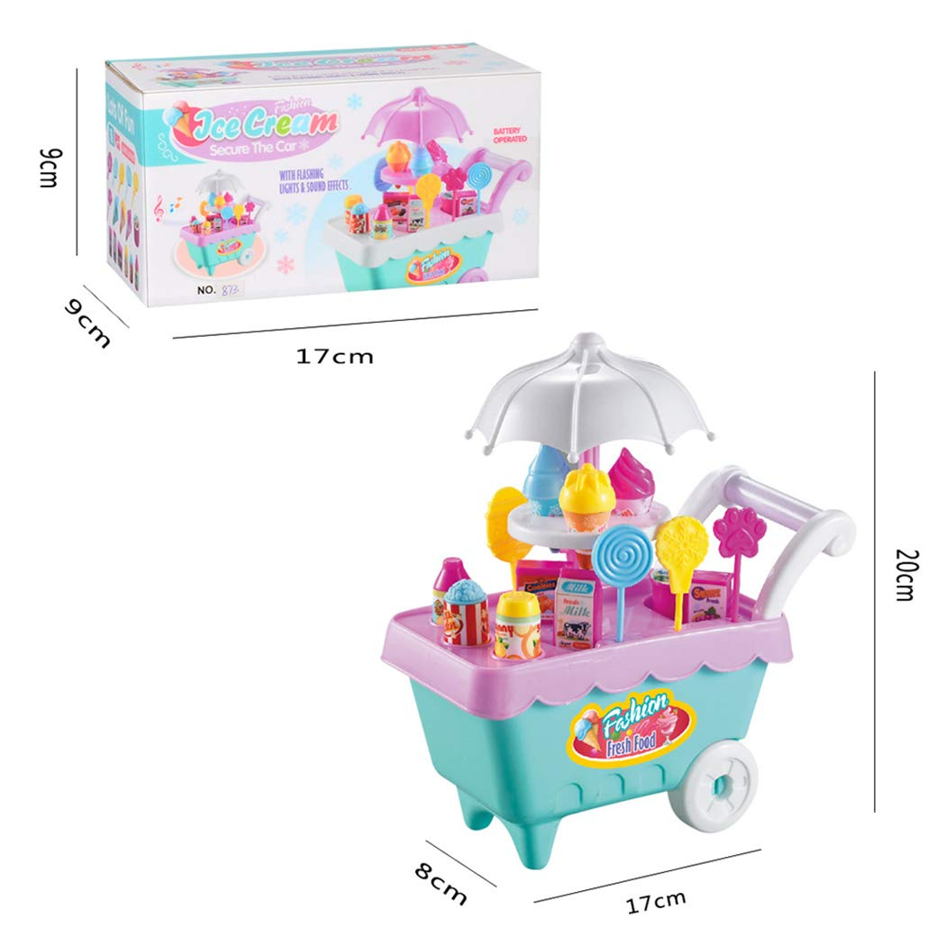 Amazon.com: FANEO 19Pcs Kids Ice Cream and Candy Trolley Toy Play Food Supermarket Trolley Cart Toys with Rotating Music Lighting Pretend Play Set Best Gift ...