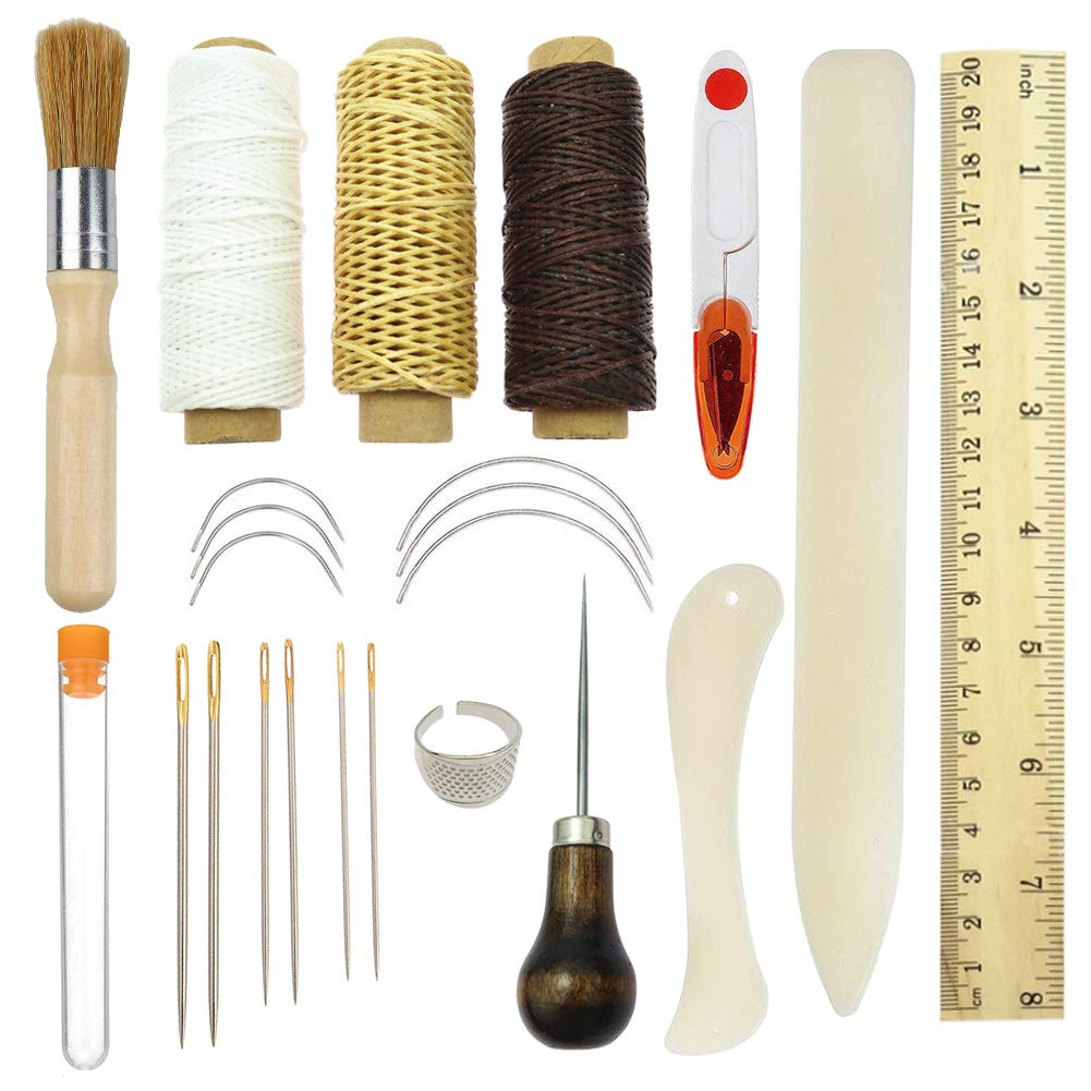 Book Binding Starter Kit - Bone Folder Paper Creaser, Handle Awl, Superior Brush,Thread Clipper, Basic Hand Sewing Thread Kit for DIY Bookbinding Crafts and Sewing Supplies 23 Pcs HTOYES