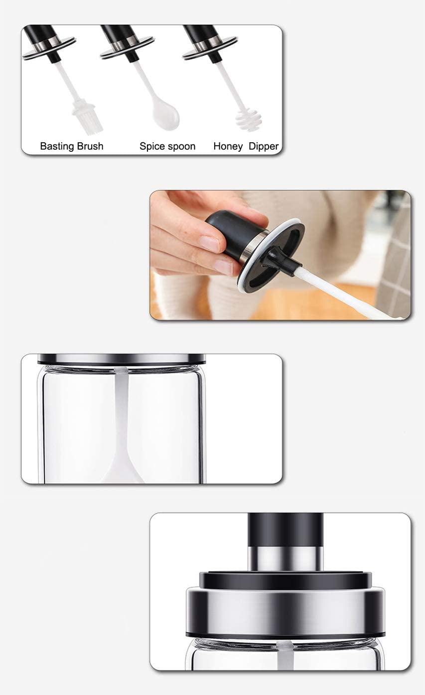 Caja de pl/ástico con 4 mini tarros para condimentos y 4 cucharas de servir Tenta Kitchen T052