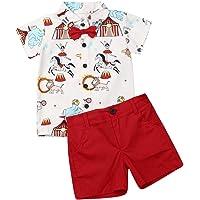 Geagodelia Conjunto Niños Bebés Verano Gentleman Camiseta de Manga Corta Pantalón Corto Ropa Bautizo de 2 Piezas Traje…