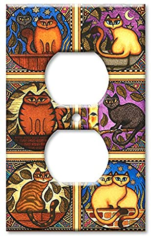Art Plates - Outlet Cover OVERSIZE Switch Plate - Mosaic Cats - Oversize Light Switchplates