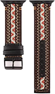 Smarmate Nylon Embroidery Multicolor Irregular Pattern Leather Band and TPU Protective Bumper Case Compatible with 42mm Apple Watch Series 3, 2, 1 (Freestyle 4)