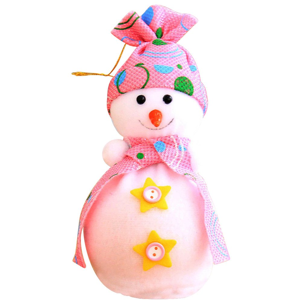 Floralby Christmas Snowman Doll Apple Bag Pendant Kids Xmas Figurines Gift Party Decor (Pink)