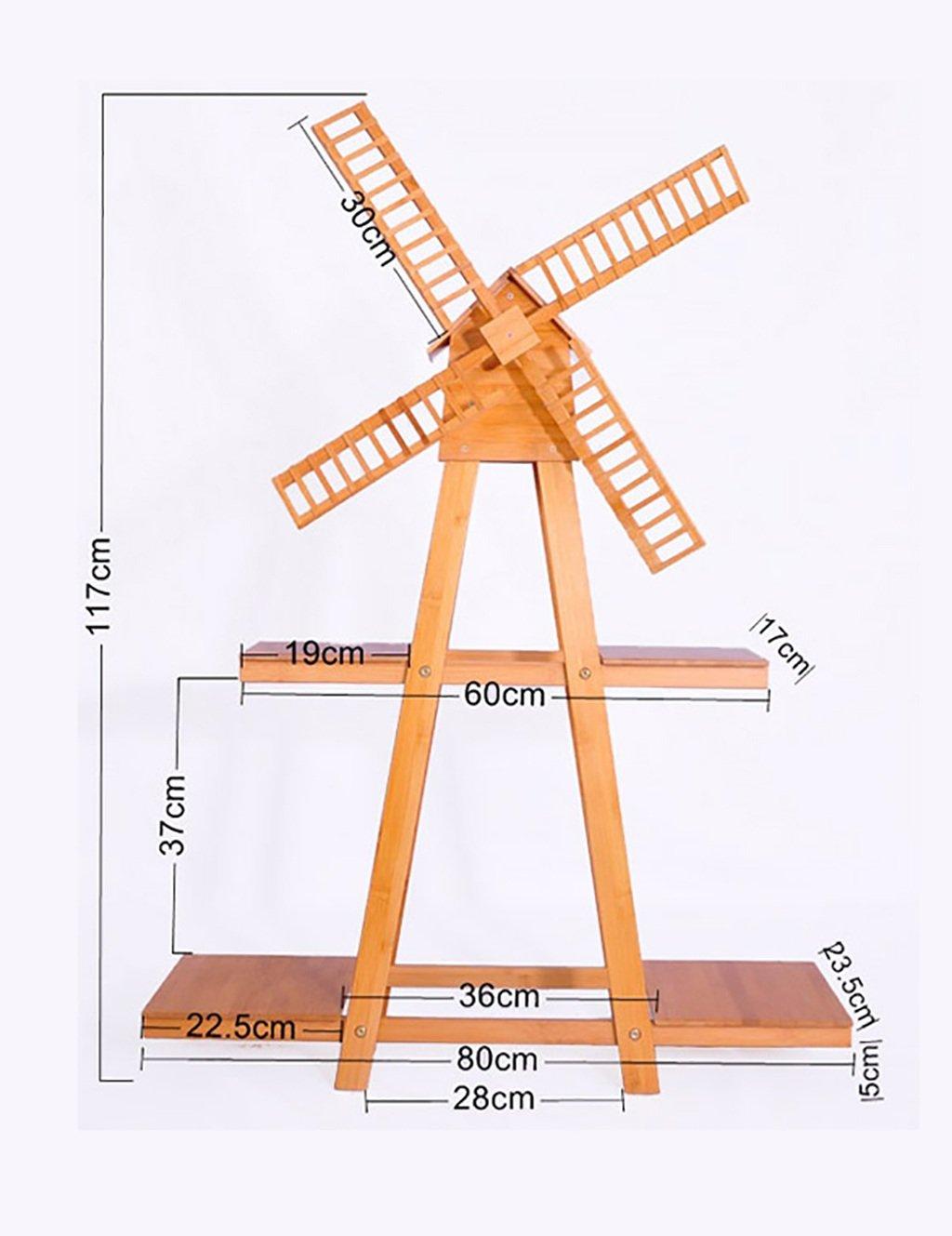 CHAOXIANG フラワーポットシェルフウッドフロアタイプ風車フラワーシェルフヨーロッパスタイルシンプルな屋内屋外シェルフ (色 : A) B07F1CKGZN A A
