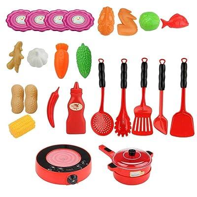 25 unids/Set niños simulación eléctrica Cocina Juguete luz, Tono simulación Pantalla Digital función de Informe de Voz: Hogar