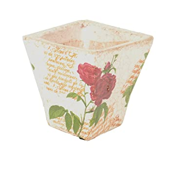 Übertopf Keramik Blumentopf creme Rose eckig 12cm für Innen Antik ...