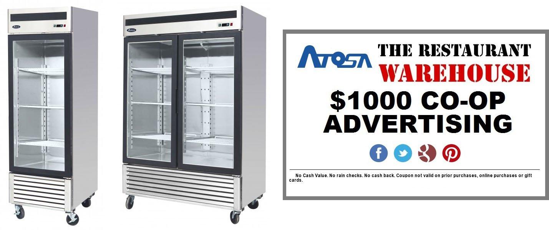 Atosa 27-Inch Glass Single Door Merchandiser Upright Freezer and $1000 Restaurant Advertising Credit