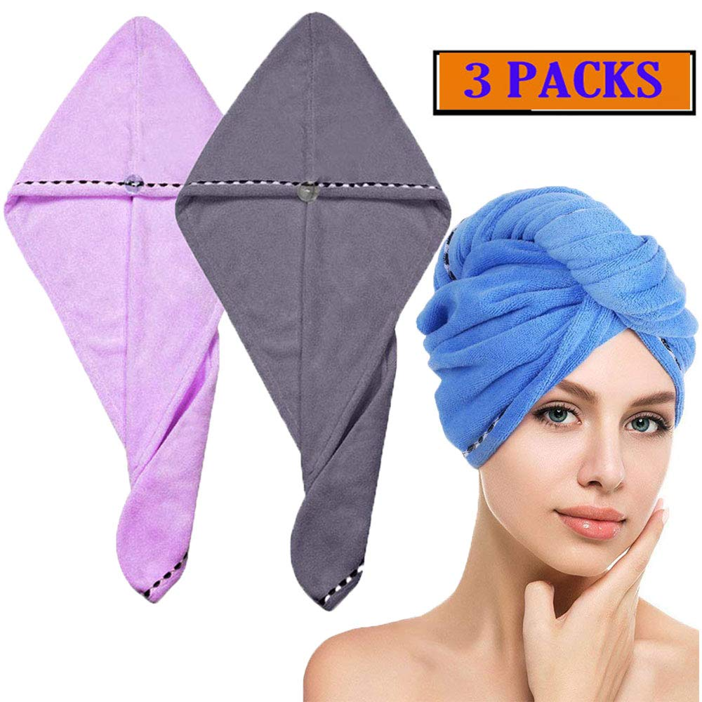 3 Pack Hair Towel Wrap Turban Microfiber Drying Bath Shower Head Towel with Buttons, Quick Magic Dryer, Dry Hair Hat, Wrapped Bath Cap By Borogo