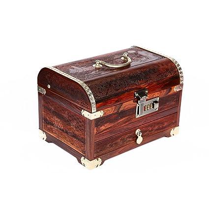 Joyero caoba rojo palo luna llena caja de la joyería grabado cerradura de la contraseña adornos