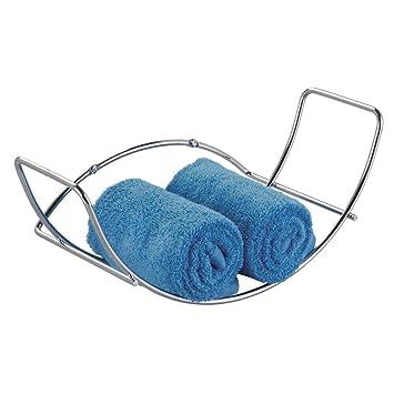 mDesign Soporte para toallas de mano, de pared; para almacenamiento en el cuarto de baño - Cromado: Amazon.es: Hogar