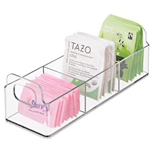 "mDesign Small Plastic Kitchen Pantry, Cabinet, Countertop Organizer Storage Station Tea Caddy Holder - Holds Beverage and Tea Bags, Sweetener, Individual Packet Condiments - 9"" Long - Clear"
