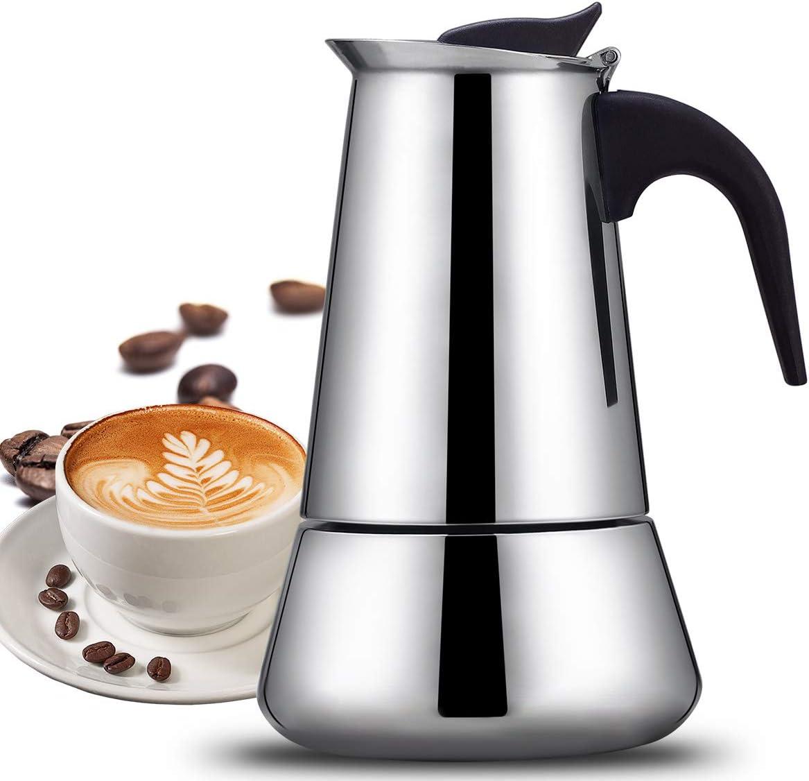 Cafetera exprés, cafetera SUDESMO, cafetera Moka, cafetera cafetera, 300 ml/6 tazas, cafetera Moka de acero inoxidable, adecuada para la mayoría de cocinas, mango con aislamiento térmico: Amazon.es: Hogar