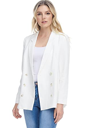 dc2e9b57e18948 A+D Womens Casual Double Breasted Blazer Jacket W/Pockets (Off White,  X-Small) at Amazon Women's Clothing store: