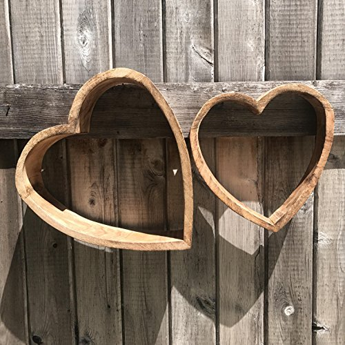 The Americana Rustic Love Hearts, Set of 2, Wooden Hand Cut Wall or Shelf Decorations Ornaments, Reclaimed Vintage Antique Style, Various Sizes, By Whole House Worlds