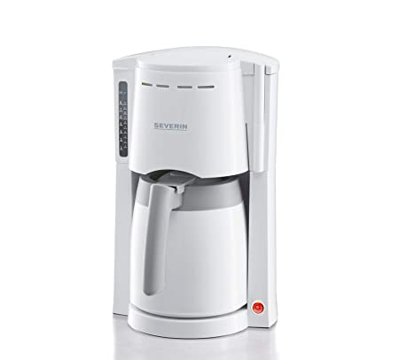 SEVERIN KA 4114 Cafetera para filtros de Café Molido, 8 tazas incluye jarra termo, blanco/gris