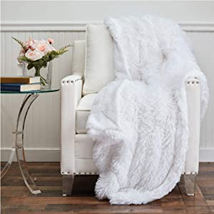 The Connecticut Home Company Shag with Sherpa Reversible Throw Blanket, Many Colors, Super Soft, Large Plush Luxury Blankets, Warm Hypoallergenic Washable Couch or Bed Throws, 70x60, White