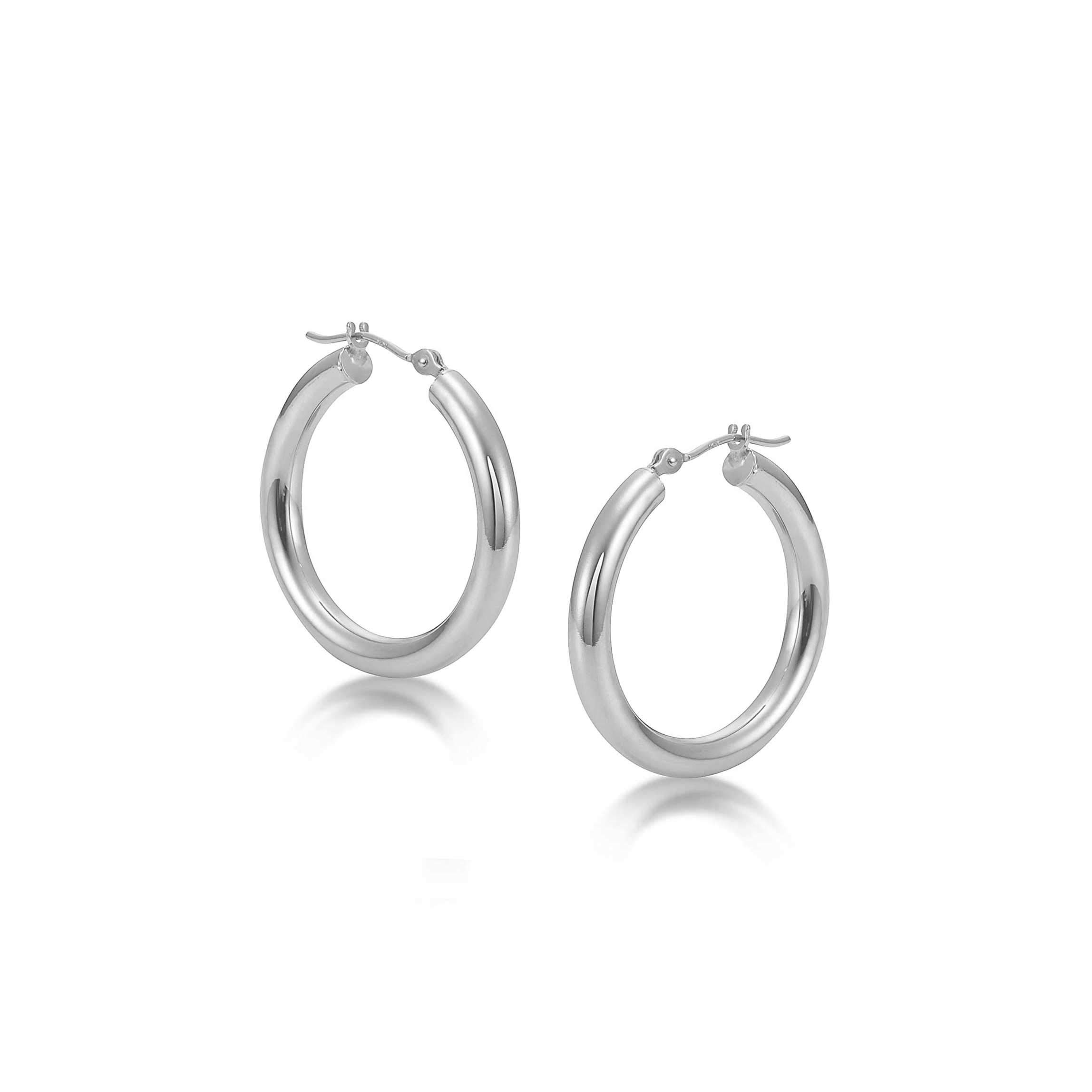 Sterling Silver Hoop Earrings - 3mm x 18mm Click-Top Tube Hoop by KEZEF Creations (Image #2)
