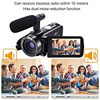 Camcorder Video Camera Full HD Camcorders 1080p 30FPS 24.0MP Digital Camera 3'' LCD Touchscreen With External Microphone and Remote Controller by SUNLEA