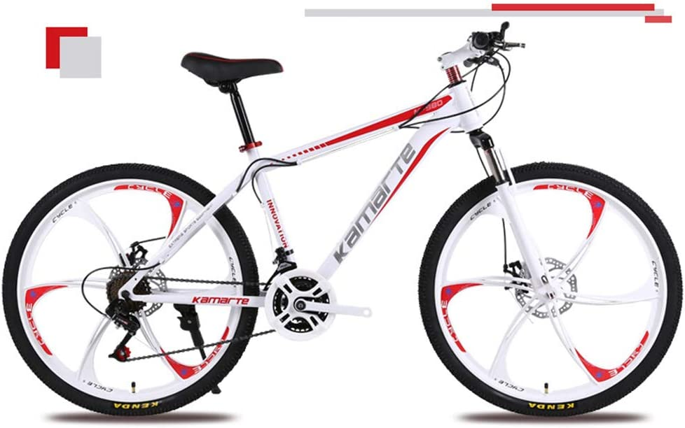 KXDLR Mountain Bikes 26 Inch Mountain Trail Bike High Carbon Steel Front Suspension Frame Bicycle 21 Speed Gears Dual Disc Brakes Mountain Bicycle,Blanco,27 Speeds: Amazon.es: Deportes y aire libre