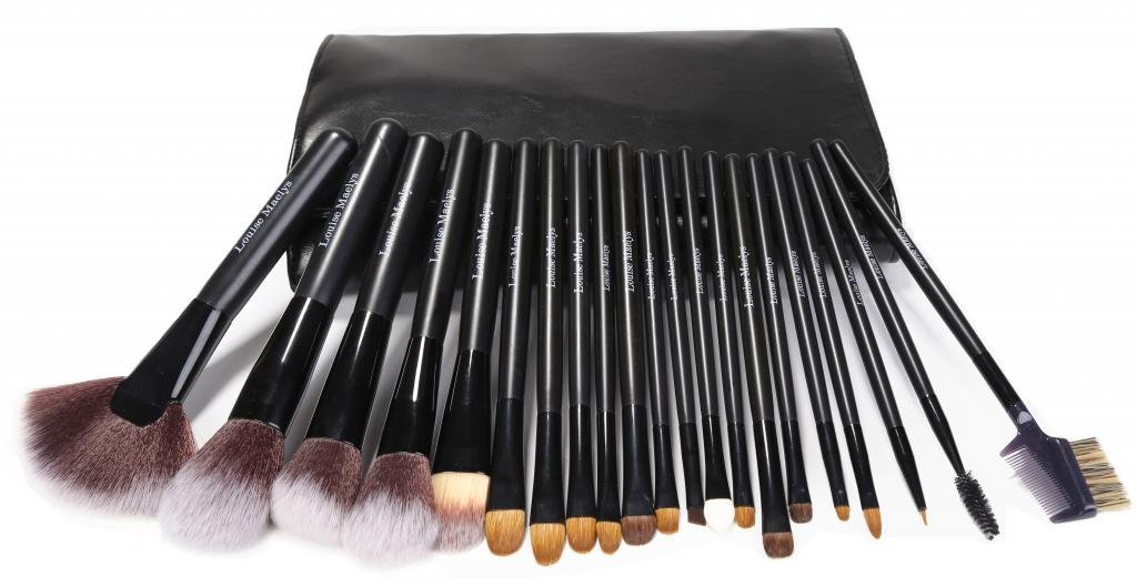 d1afa6a04684 LOUISE MAELYS 21 Piece Cosmetic Makeup Brushes Set Black with Case